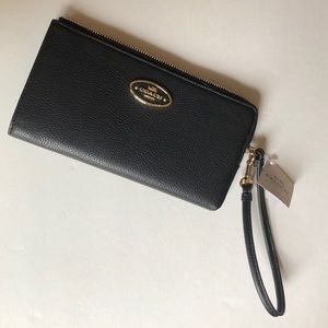 COACH Black polished pebble leather Zip Wallet